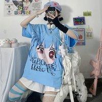 Women's T-Shirt Summer Japanese Ladies Harajuku Cute Short Sleeve Tshirt Oversize Blue Tops For Girls Korean Style Vintage Clothes Woman