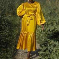 Ethnic Clothing Eid Satin Like Muslim Dress Dubai Abaya Fashion Women Long Puffed Sleeve Summer Hijba Dresses Arabic Turkey Africa Islam Clo