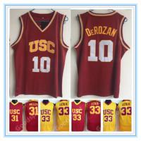 NCAA USC Trojans College Jerseys 10 Derozan 1 Jovem 24 Scalabrine 31 Miller 33 Leslie Camisetas Basquete da Universidade