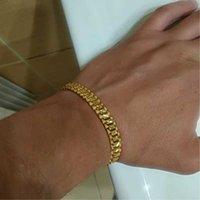 18cm Mens Womens Gold Vintage Bracelet Bangles Copper Alloy Heavy Miami Link Chain Bracelets Hip Hop Punk Jewelry for Women Men