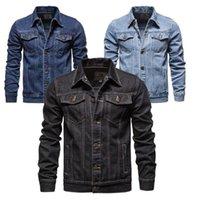 Vestes pour hommes 2021 Mode moto déconduite surdimensionnée Demin Jean Jacket Hommes Slim Solid Cotton Black Coats
