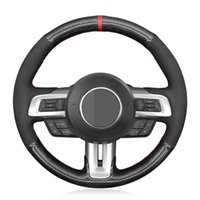 Car Steering Wheel Cover Soft Black Carbon Fiber Suede Wrap For Ford Mustang 2015-2020 Mustang GT 2015 2017 2018 2019 2020