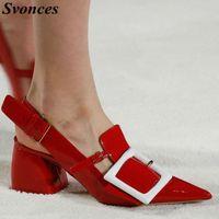 Kleid Schuhe SVonces Top Mode 2021 Rot Spitze Zehen Hochzeit Runway Pumps Chunky Heels Celebrity Frauen Sexy Escarpins Sapato Feminino
