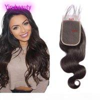 Cabello humano de Malasia 4 por 6 Cierre de encaje Cabina de cuerpo Virgin Hair 8-20inch Color natural 4x6 Cierre con productos para el bebé