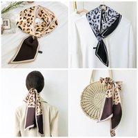 Scarves 2021 Leopard Silk Neck Scarf For Women Foulard Female Hijab Headband Neckerchief Bandana Lady Shawl Wrap Pashmina