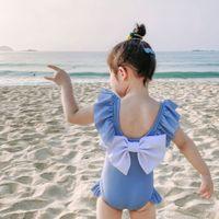 Çocuk Backless Büyük Yay Bir Parça Mayo Karikatür Bebek Kız Fırfır Mayo Yaz Moda Bikini Çocuklar Tek Parça Z2489