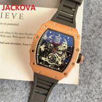 Skeleton Dial Designer Mens Sports Watches Fashion Rubber Strap Male Clock Relojes Top Brand High Quality Men Classic Wristwatches reloj