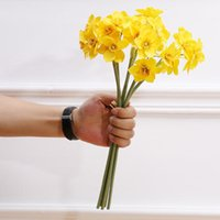 Decorative Flowers & Wreaths Creative Artificial Narcissus Flower Bouquet Home Party Decor Fake Desktop Wedding Scene Daffodil Yellow