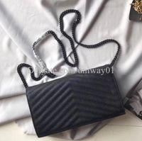 Borsa da donna in vera pelle di alta qualità Borsa da donna Borsa originale Box Case Box Clutch Shoulder Messenger Cross Body Caviar