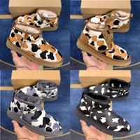 2021 Top Quality Designer Classic Ultra Snow Boots lint Women Mini Cow Print Ankle Shoes Black Grey Coffee Australia Kneel Womens Girls Adding Velvet Chaussure