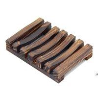 Bambú Natural Placas de jabón de madera Placa Bandeja Titulares Caja caja de ducha Lavar a mano Soporte de jabones 11.5 * 8 * 2.2cm FWB8949