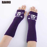 Ranmo Punk Skull Женщины Длинные перчатки без пальцев 30 см Зимняя половина пальца Рука варежки высокого качества Женские вязаные шерстяные перчатки 1 пара Y0910