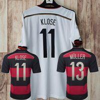 الرجعية الكلاسيكية ألمانيا 2014 Soccer Jerseys الصفحة الرئيسية Klose Podolski Kroos Gotze Lahm Schweinsteiger 3 4 نجوم قميص كرة القدم