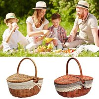 Storage Baskets Wicker Willow Woven Picnic Basket Hamper As Shopping Bag With Lid And Handle Camping Food Fruit