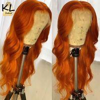 180% имбирный оранжевый бразильский полный кружевной фронт парик волнистый Оберн медные красные синтетические кружевные парики предварительно сорванные волосы для женщин