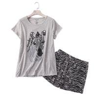 Случайные сексуальные Zebra летние шорты спящие одежды женщины пижамы наборы 100% хлопок милые мультфильм женские пижамы пижамы пижамы пижамы женщины пижамы 210305