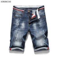 الرجال السراويل الجريالجراساس الرجال ممزق جينز قصير مستقيم 98٪ القطن جان برمودا الذكور الدينيم ماركة الملابس زائد الحجم 28-38