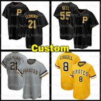 Pittsburgh Custom Pirates Jersey 21 Roberto Clemente 8 Whilie Stargell 55 Josh Bell 6 Starling Marte 5 Джош Харрисон 2021 Бейсбол