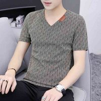 Summer short V-neck base coat trend Korean version thin cut out half sleeve T-shirt large men's clothes