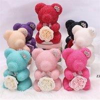 Dekoratif Çiçekler Çelenkler 100% El Yapımı Gül Sabunu Ile Yüksek Dereceli Reçine Elmas Teddy Bear Düğün Mezuniyet Valentine Mesih HWF8382