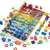 나무 마그네틱 낚시 보드 디지털 모양 일치인지 수학 교육 에이즈 어린이 몬테소리 초기 교육 장난감 H1009