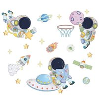 Wall Stickers Space Astronaut For Kids Room Decoration Planets Decals Decorative Bedroom Mural Wallpaper