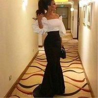 Luxury Evening Dresses Long Sequins Robe De Soir Parties Plus Size Black With White Prom Party Gowns