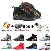 Продажа с коробкой Aqua Jumpman 8 VIII Южный пляж 8s Мужчины Баскетбольные туфли Многоцветные Светоотражающиеся Кваи 54 Рейд Три торфяных Chrome Валентина Дейниевые спортивные кроссовки