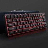 Klavyeler USB Kablolu RGB Aydınlatma Oyun Klavye HXSJ V700 61 Tuşlar Ofis Bakımı Bilgisayar Malzemeleri Masaüstü Dizüstü PC için
