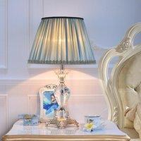 무료 배송 럭셔리 크리스탈 테이블 램프 유럽 럭셔리 침실 침대 옆 램프 북유럽 거실 블루 아메리칸 따뜻한 간단한