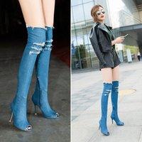 Moda Tüm Maç Kadınlar Yüksek Topuklu Uyluk Yüksek Çizmeler Kadın Ayakkabı Sıcak Diz Üzerinde Çizmeler Peep Toe Kovboy Denim Ayakkabı Bayan Ayak Bileği Boot J2U3 #