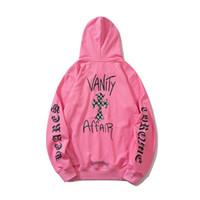 20SS CROSIN бренд свитер печати граффити розовый крест с капюшоном чистый хлопок черно-белая решетка куртка для мужчин и женщин пары