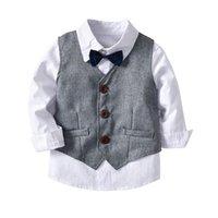 Clothing Sets 2021 Spring Autumn Baby Boy Gentleman Suit White Shirt With Bow Tie Vest Trousers Pants 3Pcs Formal Kids Clothes Set