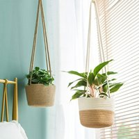 Handmade Macrame Plant Hanger Flower Pot For Wall Decor Courtyard Garden Hanging Planter Basket Wall Decorations 210312