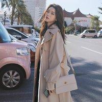 Women's Trench Coats Windbreaker 2021 Spring Autumn Korean British Style Leisure Fashion Long Coat For Women Belt Overcoats M347