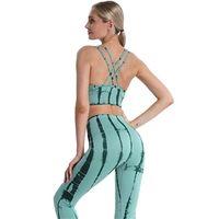 KKXIU 2021 Seamls Kravat Boyalı Spor Yoga Takım Elbise Koşu Fitns Kalça Kaldırma Güzel Geri Spor Kadın Yoga Set
