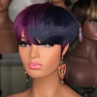 Short Straight Bob Pixie Cut None Lace Front Human Hair Black  Ombre Purple Wig With Bangs For Women