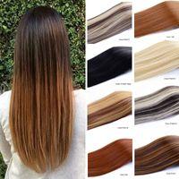 Perucas sintéticas Jeedou Long Straight Clip no cabelo 7pcs / Set para cabeça cheia de cabelo preto claro cor marrom