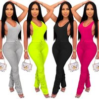 Donne 2 Abiti senza maniche Set Set Set di Abbigliamento Lace Up Casual Donna Set O-Neck Sexy Sport Sport Pants Tuta