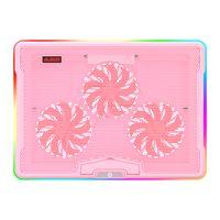 AJAZZ AHC160 Pads de refroidissement pour ordinateur portable de jeu professionnel) Effet lumineux RVB MUTE ANGLE RÉGLABLE USB Ventilateur de port double (rose)