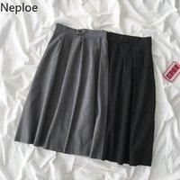 Skirts Neploe Korean Elegant Women Skirt Zipper Button Stretch High Waist Solid Bottoms 2021 Spring Office Lady A-line 58991
