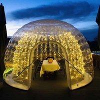 Tenda a cupola gonfiabile con luce a LED 3,5 m 4.5m Diametro esterno Trasparente Tenda per bolle Trasparente per l'evento all'aperto del partito di campeggio