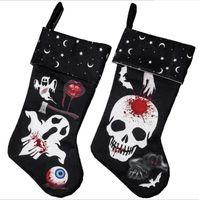 2 Arten Party Halloween Socken Tuch Ghost Muster Strumpf Trick oder Treat Candy Gift Tasche Familie Kamin Dekoration