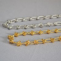 Chains Modern Rope Knot Brass 18K Gold-plated Chain Necklace For Women Female Men Cold Temperament Simple Hip-hop Fashion Jewelry