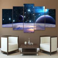 Lienzo hd impreso universo galaxia 5 panel reflexión espacio planeta imagen modular decorar cartel impresiones pared arte pintura