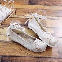 Veowalk Ciervos bordados mujeres suaves lienzo traje zapatos planos correa de tobillo damas comfort plataformas de algodón retro zapatos chinos comfort t9sp #
