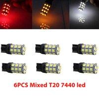 6 قطعة / الحزمة hotsale t20 7443 W21 / 5W T20 7440 5050 27SMD ضوء LED لمبة السيارات الفرامل سيارة بدوره وقف الخلفية