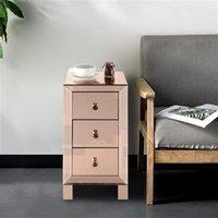 Schlafzimmermöbel Nordic Einfacher kleiner Kaffee Moderne und zeitgenössische verspiegelte 3-Schubladen Nachttisch Nachttisch Rose
