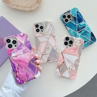 Luxury Cool Line Splicing Plating Marble Phone Cases Soft TPU for IPhone 11 12 13 Pro Max X XR Xs 8 7 Plus Silicone Shockproof Shell Cover