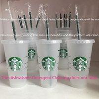 Starbucks 24 oz / 710ml Taza de plástico Little Sirena Confeti Tumbler Goddess Gift Lid Reutilizable Claro Bebida Plano Plano Paja Bardian Color Cambio Flash Negro DHL